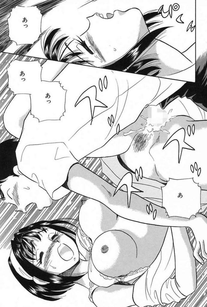 【エロ漫画】ご近所の美人人妻と激似のエロ写真をみた青年は人妻がノーパンローター着用で買い物していたのに気づき童貞を卒業させてもらう!
