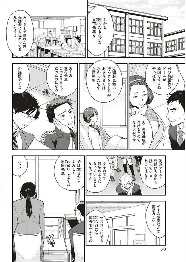 【エロ漫画】ヤリチン男子を更生させるため地味巨乳の女教師がゲームに参加。男子のアナルを責めながら手コキで勃起させ大人のセックスを教えることに成功した女教師。【馬鈴薯/放課後DOWN THE DRAIN】