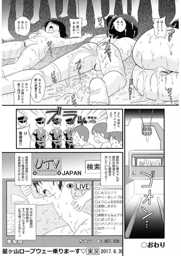 【エロ漫画】修学旅行中の無防備パンチラのJSたちがロープウェーで発情した男たちに痴漢レイプされちゃう【みにおん/実況絶叫索道レープウェー】